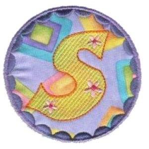 Button Applique Alphabet S