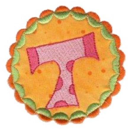 Button Applique Alphabet T