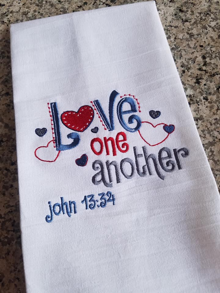 Kelly Made These Gorgeous Dish Cloths (tea Towels) Using Embroidery Designs  From Our Religious Sentiments Set.