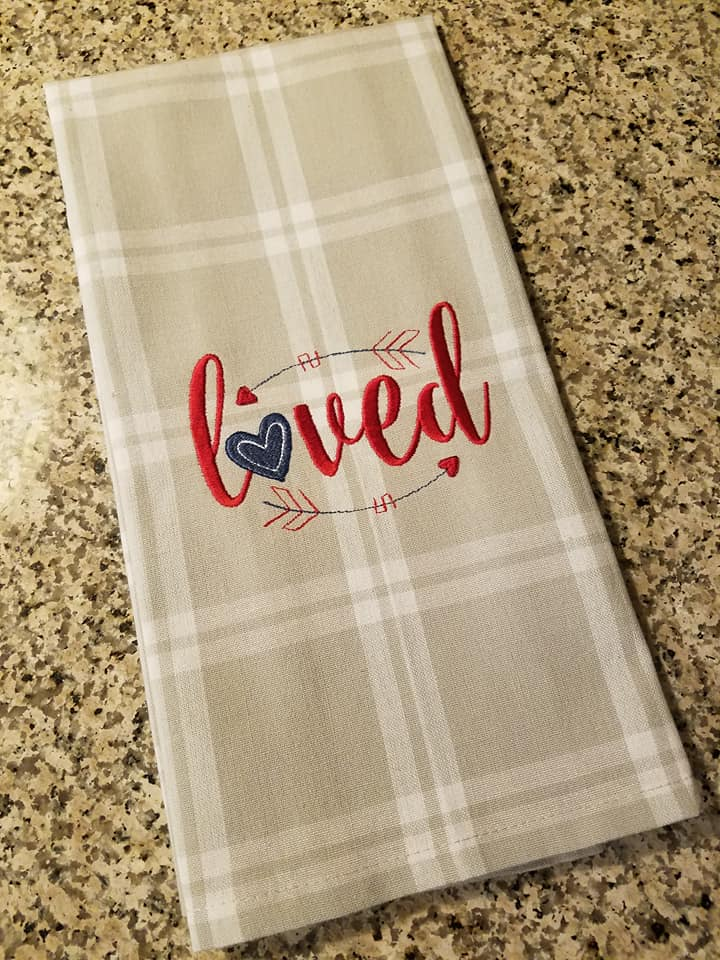 Kelly Made These Gorgeous Dish Cloths (tea Towels) Using Embroidery Designs  From Our Cupids Arrow Set.