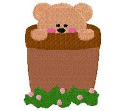 Bear in flower pot