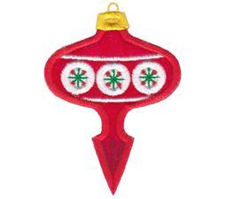 Red Retro Pointed Christmas Ornament Applique