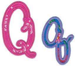Curly Girl Alphabet Applique Q