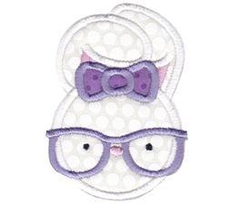 Hipster Girl Bunny Applique