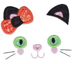 Girl Cat Face Applique