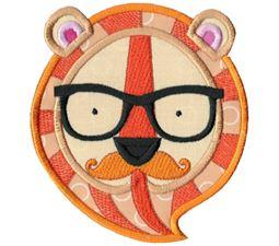Hipster Tiger Face Applique