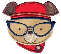 Hipster Dog Face Applique