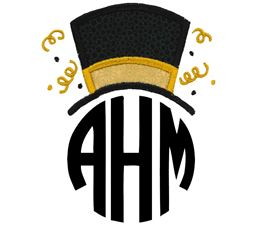 New Years Top Hat Monogram Topper