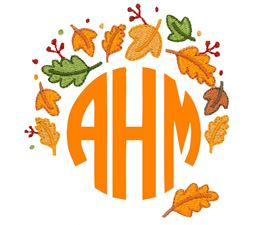 Autumn Fall Leaves Monogram Topper