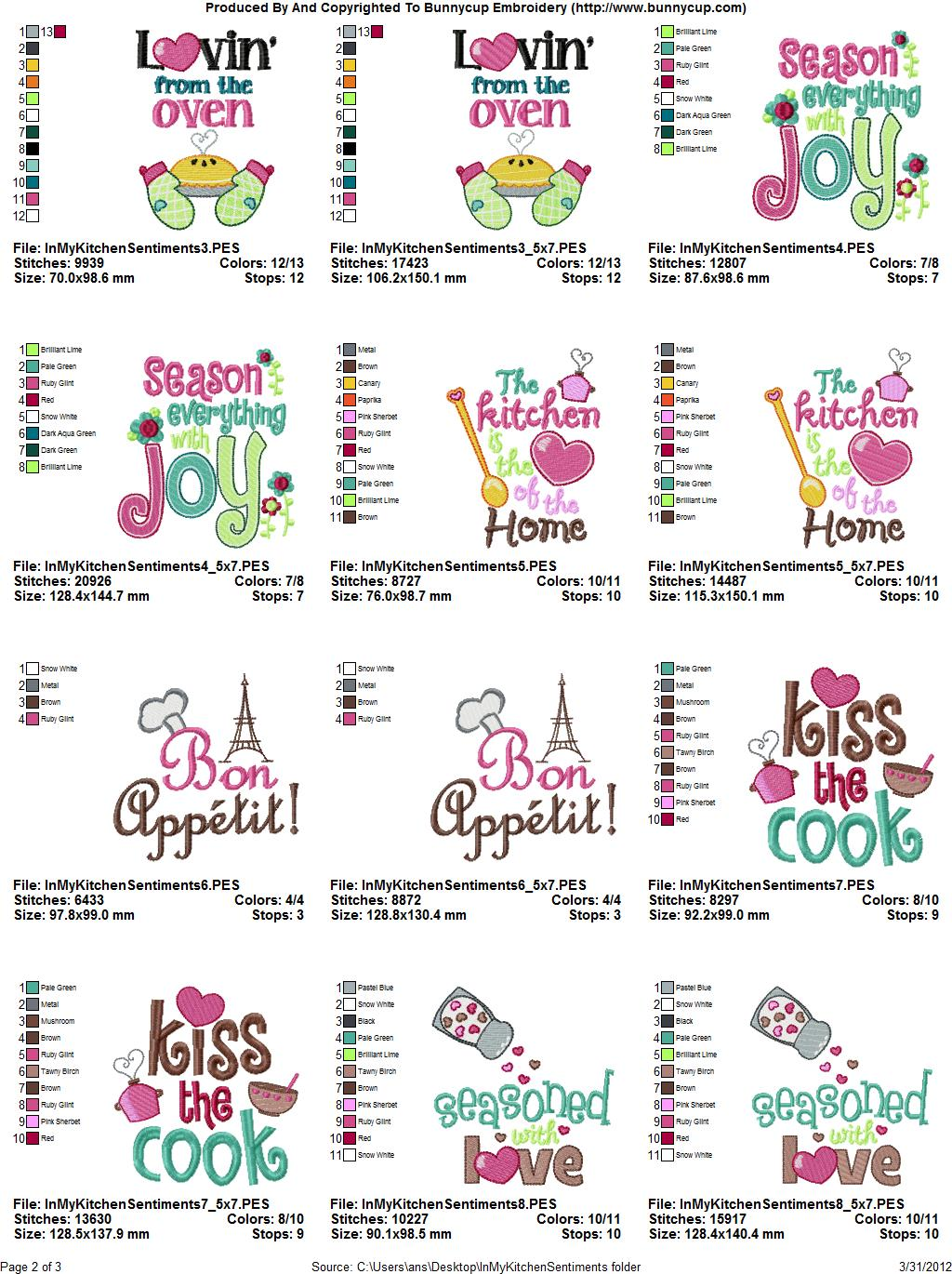 In My Kitchen Sentiments Embroidery Designs Bunnycup