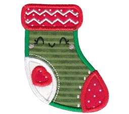 Kawaii Christmas Stocking Applique
