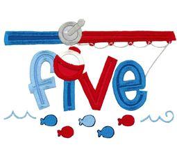Five Fishing Rod Applique