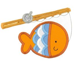 Fish Hooked on Fishing Rod Applique