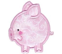Round Pig Applique