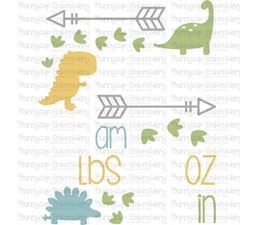 Dinosaur Birth Announcement US am SVG