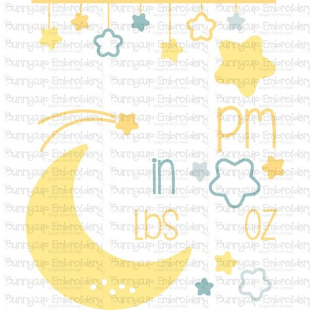 Moon Birth Announcement US pm SVG