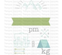 Camping Birth Announcement Metric pm SVG