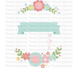 Floral Birth Announcement Metric pm SVG