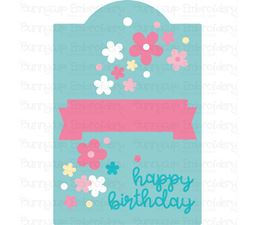 Floral Happy Birthday Gift Tag SVG