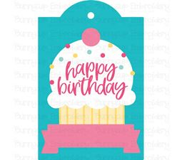 Happy Birthday with Cupcake Gift Tag SVG