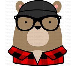 Hipster Bear Face SVG