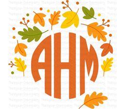 Autumn Fall Leaves  Monogram Topper SVG