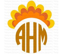 Thanksgiving Turkey Tail  Monogram Topper SVG