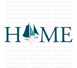 Home With Sail Boat SVG