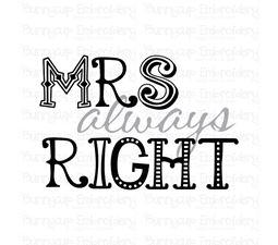 Mrs Always Right SVG