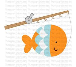 Fish Hooked on Fishing Rod SVG