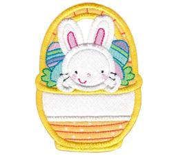 Split Bunny in Basket Applique