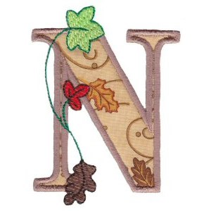 Embroidery Design Set - Autumn Alphabet N