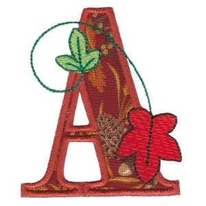 Embroidery Design Set - Autumn Alphabet A