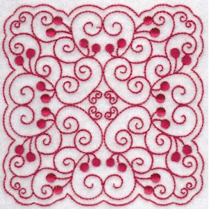 Embroidery Design Set - Cherries Quilt Blocks Redwork 1