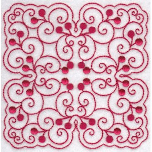 Embroidery Design Set - Cherries Quilt Blocks Redwork 10
