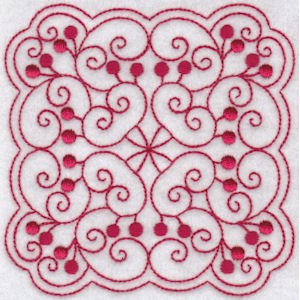Embroidery Design Set - Cherries Quilt Blocks Redwork 12
