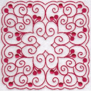 Embroidery Design Set - Cherries Quilt Blocks Redwork 4