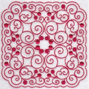 Embroidery Design Set - Cherries Quilt Blocks Redwork 5