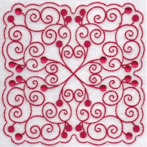 Embroidery Design Set - Cherries Quilt Blocks Redwork 6