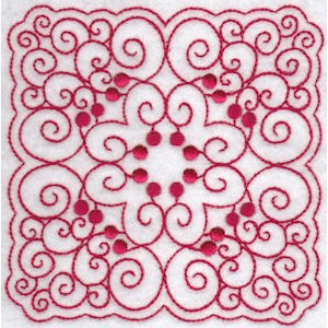 Embroidery Design Set - Cherries Quilt Blocks Redwork 7