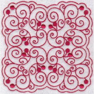 Embroidery Design Set - Cherries Quilt Blocks Redwork 8