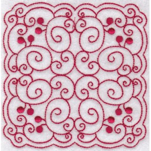 Embroidery Design Set - Cherries Quilt Blocks Redwork 9