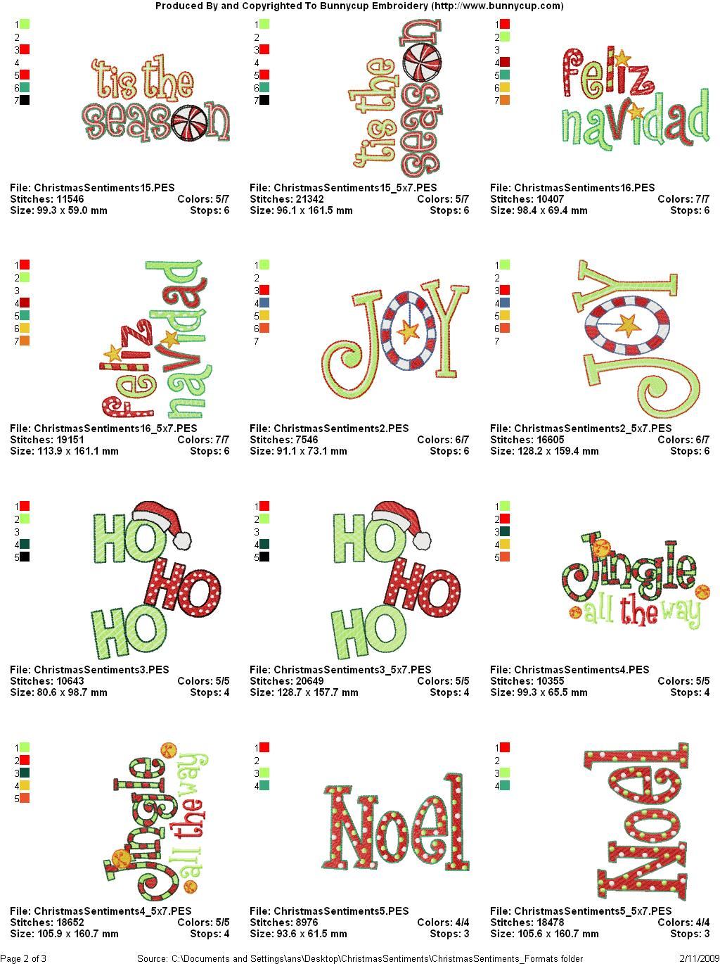Used Embroidery Machines For Sale >> Christmas Sentiments Embroidery Designs - Bunnycup Embroidery