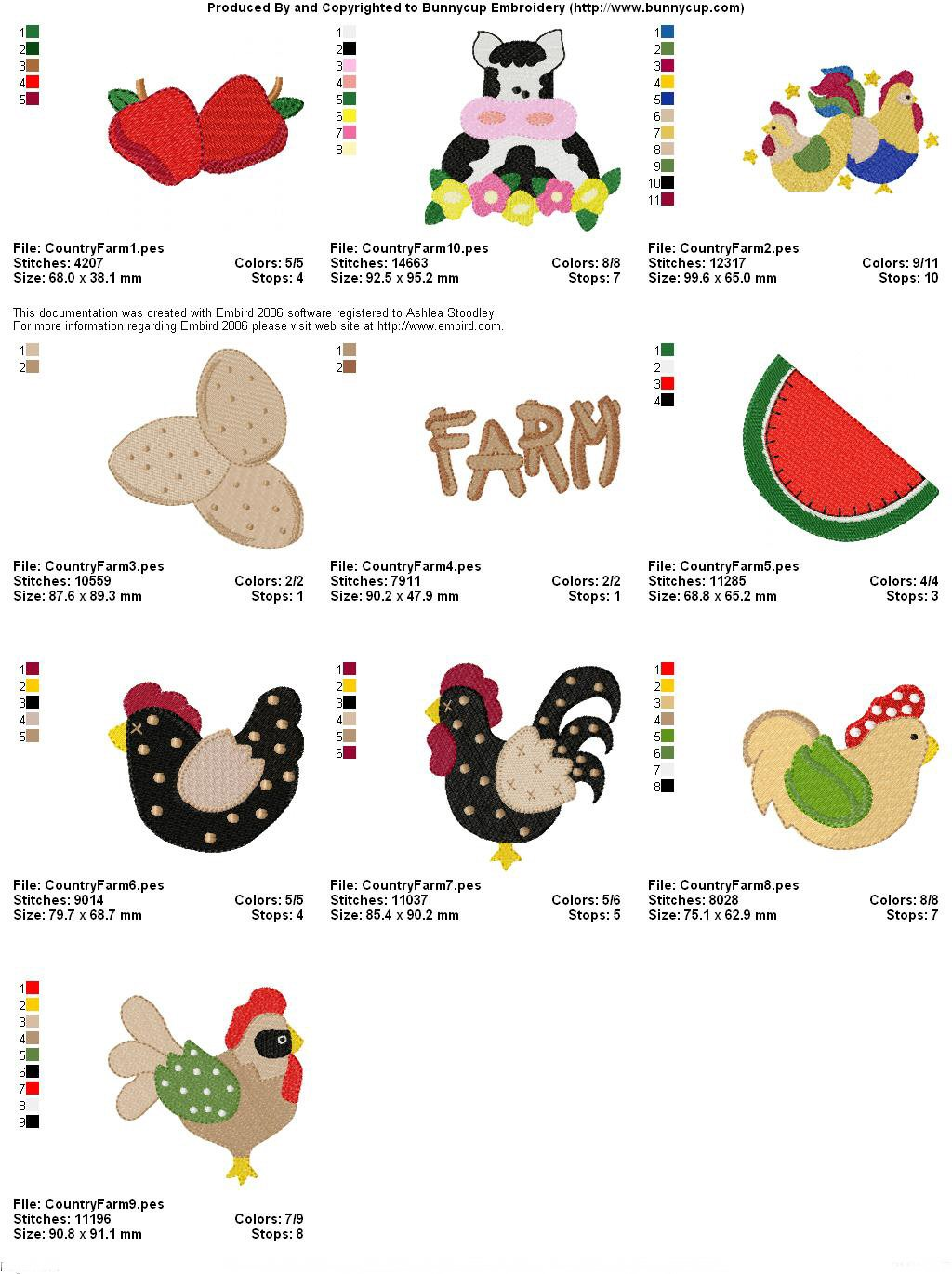 Country farm embroidery designs bunnycup embroidery thread chart 1 nvjuhfo Gallery