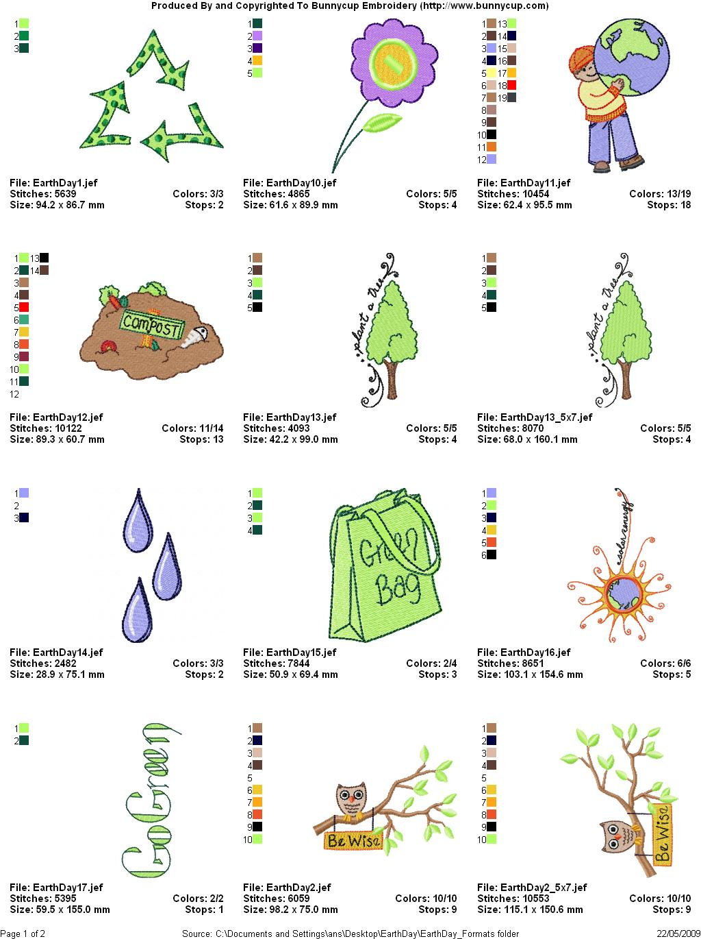 Earth day embroidery designs bunnycup embroidery thread chart 1 ccuart Gallery