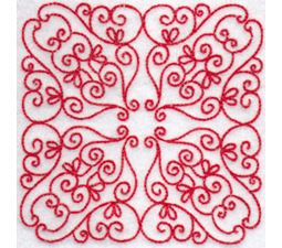 Elegant Quilt Blocks Redwork 11