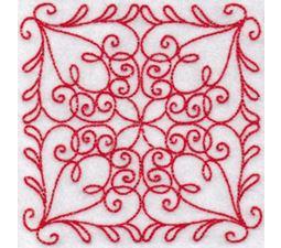 Elegant Quilt Blocks Redwork 4