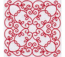 Elegant Quilt Blocks Redwork 7