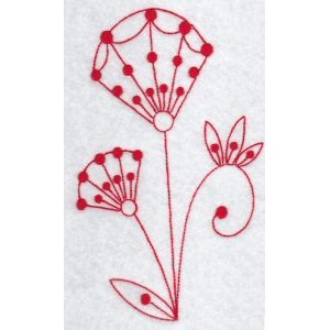Embroidery Design Set - Fantasy Flowers Redwork 1