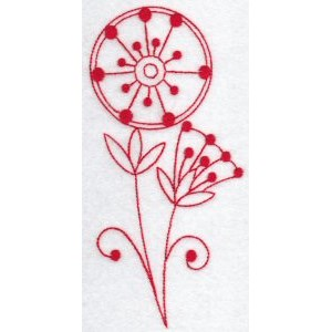 Embroidery Design Set - Fantasy Flowers Redwork 5